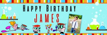 Customised Dexter birthday banner showing Dexter`s Lab
