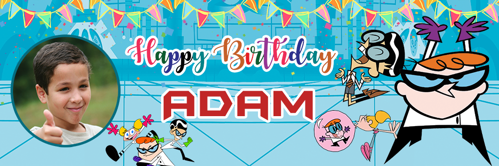 Dexter birthday banner showing Dexter, Mandark and Dee Dee