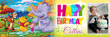 Gang of Pooh themed Customised Photo Birthday Banner