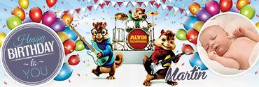 Alvin Seville Character Themed Custom Photo Birthday Banner