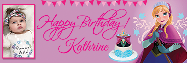 Cute Princess Anna Themed Customised Photo Birthday Banner