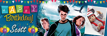 Hermoine & Harry Potter Personalised Photo Birthday Banner