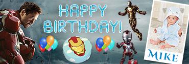 Tony Stark IronMan Theme Personalised photo Birthday Banner