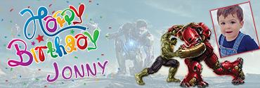 Iron Man & Hulk Theme Personalised Photo Birthday Banner