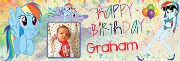 Girly RainbowDash Pony Theme Custom Birthday Banner