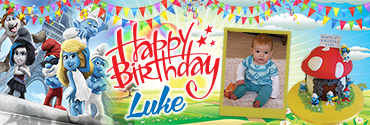 Smooth Smurf & Vexy Characters Custom Photo Birthday Banner