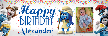 Hackus & Smurfette Theme Personalised Birthday Banner