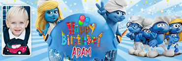 Smurf & Smurfette Theme Personalised Birthday Banner