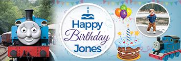 Blue Thomas Engine theme Custom Photo Birthday Banner