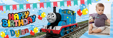 Thomas Train Series Inspired Custom Photo Birthday Banner