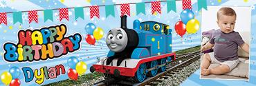 Thomas Train Series Inspired Custom Photo Birthday Banner