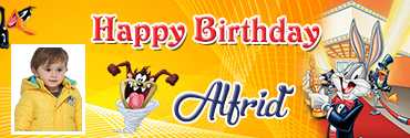 Taz Inspired Bugs Bunny Series Photo Birthday Banner