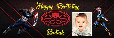Red Skull Themed Captain America Customised Photo Birthday Banner