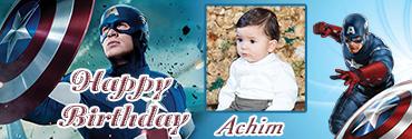 War theme Captain America Series Birthday Banner