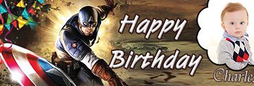 Captain America Theme Personalised Photo Birthday Banner