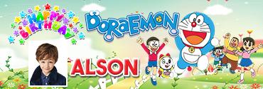 Playful Doraemon squad theme personalised photo birthday banner