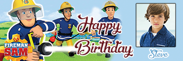 Sam the Fireman theme personalised photo birthday banner