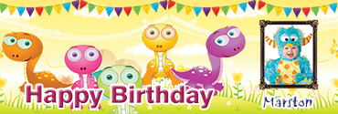 Playful Little Dino Themed Personalised Photo Birthday Banner