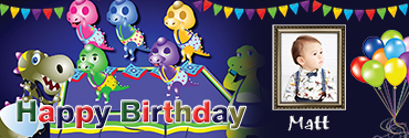 Baby Dinos Themed Custom Photo Birthday Banner