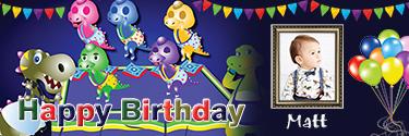 Baby Dinos Themed Custom Photo Birthday Banner