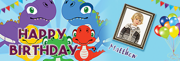 Colorful Dino Family Themed Custom Photo Birthday Banner