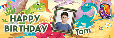 Colorful Dinos Themed Custom Photo Birthday Banner