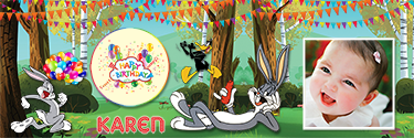 Custom Birthday banner with Bugs Bunny and friends and beautiful buntings and balloons all across them.