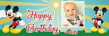 Sunshine theme Mickie Mouse Custom Photo Birthday Banner