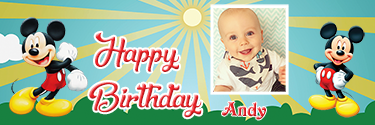 Sunshine theme Mickie Mouse Custom Photo Birthday Banner