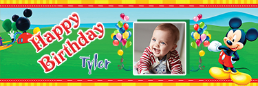 Funky Mickie Mouse Theme Personalised Photo Birthday Banner