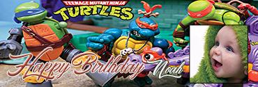Full of Action Ninja Turtle Themed Custom Photo Birthday Banner