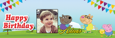 Pedro Pony Inspired Peppa Pig Series Birthday Banner for you