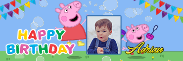 Sibling Peppa Pig Characters Custom Photo Birthday Banner