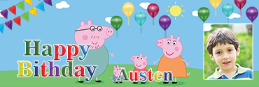 Mummy Daddy Pig Characters Peppa Pig Personalised Birthday Banner