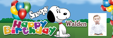 Playful Snoopy Theme Customised Birthday Banner for you