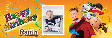 Lucy and Linus Snoopy Theme Happy Birthday Banner for You