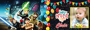 This Star wars themed personalized birthday banner is full of kids' favorite Rebel Alliance of Lego. Together with the Rebel Alliance troops,