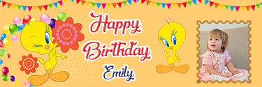 tweety theme happy birthday banner with perfect designing and custom photo