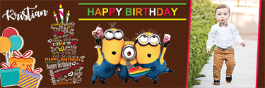 Customized banner with Minions on it for your Birthday celebrations