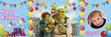 Customized birthday banner having Shrek with the babies