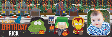 Custom banner for your birthday event with south park characters
