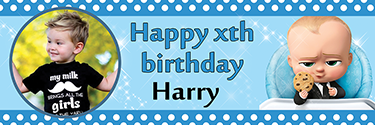 Personalised Birthday Banner The Boss Baby With Photo Custom Birthday Banners